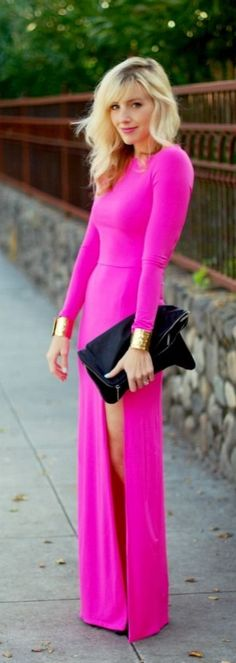 Hot pink long-sleeved maxi dress perfection.
