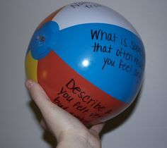 Alternative to an expensive therapy ball! Make your own therapy ball out of the Beachball. This would be a good activity for young children to to help them learn to take turns and to practice good listener skills. **Only the person holding the ball is allowed to talk and everyone else needs to be using their body, other years, and their eyes to listen to the person holding the ball.