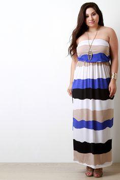 Multicolor Striped Empire Waist Maxi Dress