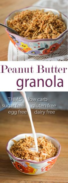 This #PeanutButter #Granola makes the perfect #icecream #topping or #yogurt #parfait layer, and it's #THMS, #lowcarb, sugar free, and #glutenfree, #eggfree, #dairyfree! #brianathomas #trimhealthymama #thm #healthyeating #healthyrecipes #recipes  #sugarfree #lowglycemic #breakfast