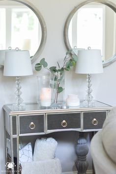 Shades of Summer Home Tour with Neutrals and Naturals- Mirrored Console Table wi. Shades of Summer Home Tour with Neutrals and Naturals- Mirrored Console Table with Mirrors above. Decorating Your Home, Diy Home Decor, Summer Decorating, Decorating Ideas, Decor Ideas, Cozy Living Spaces, Entryway Decor, Foyer, Entryway Ideas