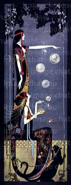 Art Nouveau, Art Deco Panther, illustration by Frederick Little Packer, blowing bubbles Inspiration Art, Art Inspo, Art And Illustration, Art Vintage, Vintage Posters, Art Amour, Jugendstil Design, Bubble Art, Art Graphique