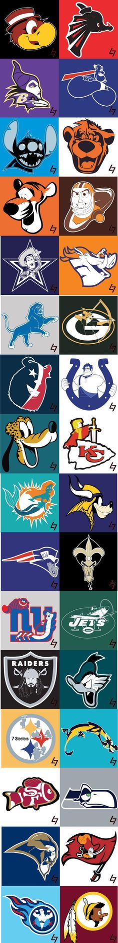 NFL logos with Disney characters. This literally combines my 2 favorite things. Football and Disney Nfl Memes, Football Memes, Sports Memes, Nfl Football, American Football, Chiefs Memes, Football Parties, Sports Logos, Funny Sports