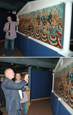 """Artist Zachary Pullen and Wyoming Governor Matt Mead viewing Pullen's painting """"The Presidents"""" at the Wyoming State Museum and using the free app to hear the presidents speak about their lives. The painting is on display until spring of 2016"""