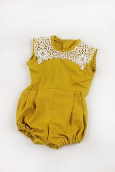 Baby Girl Romper, Baby Romper, Gold Mustard Lace, Bodysuit, Jumper, Vintage Romper, Summer, Boho, Birthday romper, babyshower gift by beeyangcouture on Etsy https://www.etsy.com/au/listing/292903439/baby-girl-romper-baby-romper-gold