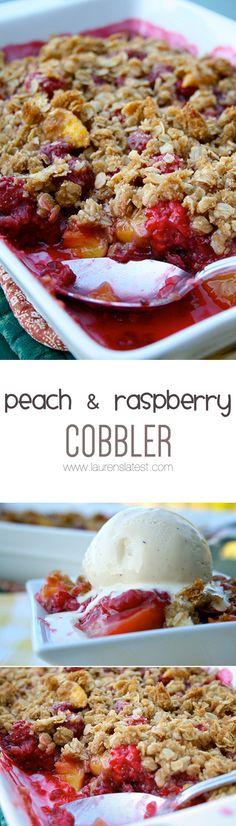 Peach & Raspberry Cobbler... and Homemade Ice Cream!