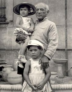 Picasso with his children Claude and Paloma, 1951.