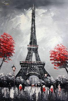 "Modern ART Eiffel Tower IN Paris 24x36 "" Original OIL Painting Canvas | eBay"