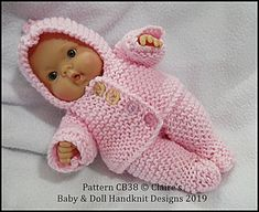 Baby and Doll Hand Knit Designs for Sale Knitted Doll Patterns, Baby Hat Patterns, Knitted Dolls, Baby Cardigan Knitting Pattern Free, Baby Knitting Patterns, Knitting Dolls Clothes, Doll Clothes Patterns, Mini Bebidas, Baby Dolls For Kids