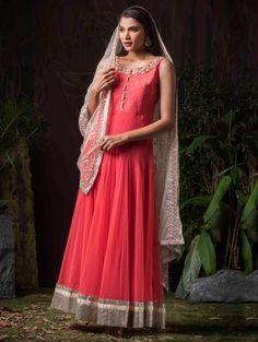 Pink Net Anarkali Suit with Zardosi Work