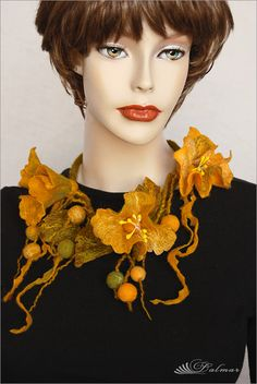 ~ F e l t i n g ~: Felted Necklace Yellow Flowers