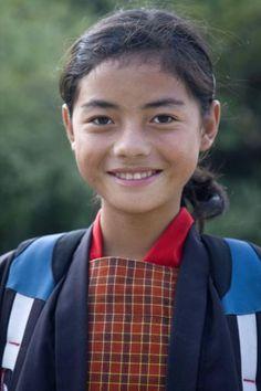 Schoolgirl in uniform near Wangdue Phodrang | Bhutanese women | Bhutan