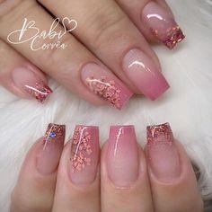 Sparkle Nails, Pink Nails, Ambre Nails, Nail Salon Design, Glow Nails, Luxury Nails, Pretty Nail Art, Long Acrylic Nails, Bridal Nails