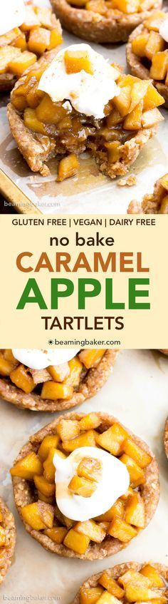 No Bake Caramel Apple Tartlets (V+GF): a whole ingredient recipe for mini caramel pecan tarts bursting with sweet apple flavor. Vegan, Gluten Free, DF.