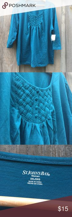 BNWT St Johns Bay 3/4 sleeve jewel toned top Beautiful brand new with tags arm length is shoulder is 19.5 bust is 27in length neck to hem is  28in anymore questions or more pics please ask! st johns bay Tops Blouses