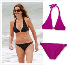~Simply Chic~  She's still got it! Julia Roberts looked every inch America's sweetheart in a classic two-piece.   ~Halterneck bikini top, Tory Burch, 125$; net-a-porter.com.  Bikini briefs, Tory Burch, 125$; net-a-porter.com.