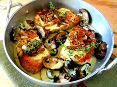 Boneless Pork Chops in a Creamy Mustard Thyme Sauce with Mushrooms and Caramelized Shallots.