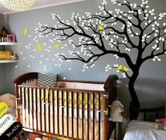 Tree over baby crib wall art