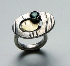 GEMS Ring sølv, guld og turmalin
