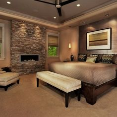 I love the track lighting and the fireplace!