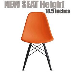 2xhome Orange - Eames Style Bedroom & Dining Room Side Ray Chair with Eiffel Dark Wood Dowel Legs   Overstock.com Shopping - The Best Deals on Living Room Chairs