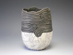 Raku Vessel by Hide-Nana on DeviantArt Raku Pottery, Slab Pottery, Pottery Art, Ceramic Studio, Ceramic Art, Ceramic Sculpture Figurative, Clay Cats, Vases, Coil Pots