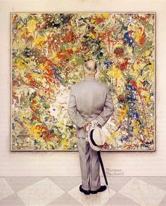 Norman Rockwell (1962)!! Rockwell considering Pollock? I've never seen this one before! Love it!