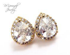 Gold Bridal Earrings Cubic Zirconia Teardrop Stud Cluster Earring Vintage White Crystal Bridesmaid Gift Wedding Jewelry Sterling Silver Post