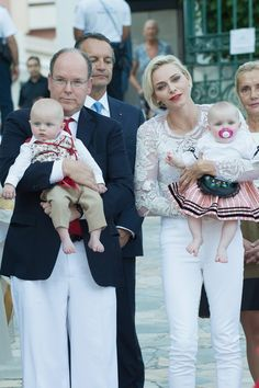 MyRoyals:  Princely Family of Monaco attend Pique Nique Monegasque, August 28, 2015-Prince Albert and Princess Charlene with Hereditary Prince Jacques and Princess Gabriella in traditional dress