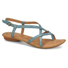 64d0cd47e5b5 Born Women s Mai Sandals in Turquoise Full Grain Flat Sandals