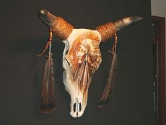 Hand Painted Deer Skulls | artists musicians and deer skulls and real cowsteer skull x