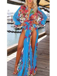 Modern dresses: Double Side Slit Print Chiffon Beach Dress