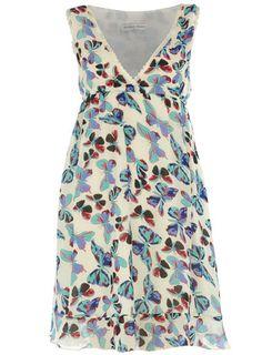 Cream/blue butterfly dress