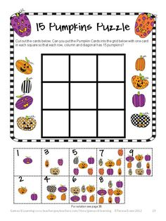 15 Pumpkins Math Puzzle - Halloween Math Games, Puzzles and Brain Teasers is a collection of Halloween Math from Games 4 Learning. It is loaded with spooky math fun and is perfect for October math activities. $