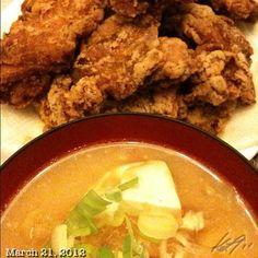 唐揚げ&豚汁 Japanese style fried chicken & Tonjiru (pork miso soup)
