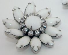 Chic Vintage 1950's Milk Glass Clip On Earrings Floral Starburst, Rhinestones, Prong Set