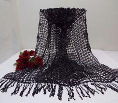 "$17.99 Black  Sequin Shawl Scarf Wrap Floral Boarder Fringe Ends 62""  #Sequinshawlwrap #SequinShawlWrap62Inches #Evening"