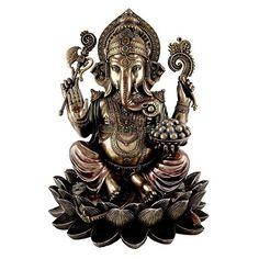 Collectible India Large Ganesh Idol Cold Cast Bronze Sculpture Hindu Figurine Ganesha Statue Decor Gift