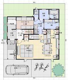 間取り成功例46坪 収納、住みやすさを追求・共働き間取りオタクの家 | アトリエコジマ~注文住宅理想の間取り作りと失敗しないアイデア・実例集~ Japanese Architecture, Room Planning, Japanese House, Laundry Room, House Plans, Sweet Home, Floor Plans, House Design, Flooring