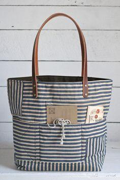 1940's era Ticking Fabric Tote Bag - FORESTBOUND