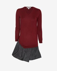 Carven Contrast Flare Sweater Dress   uh huh honey