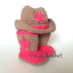 crochet cowboy and cowgirl boots for new born on Etsy, $35.00
