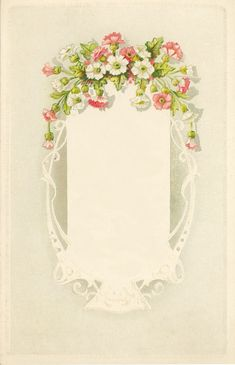 Dainty pink and white flowers. Lace-like frame.