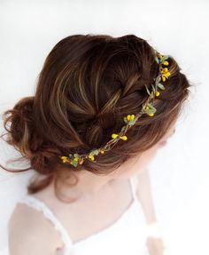 yellow flower hair accessory olive green bridal by thehoneycomb, $55.00