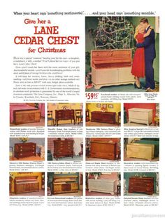 Lane Cedar Chest Rococo Furniture, Lane Furniture, Furniture Ads, Vintage Furniture, Retro Ads, Vintage Ads, Vintage Christmas, Christmas Carol, Headboard Designs