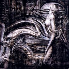 +Giger. Have an octopus tentacle wrap around the front and morph biomechanical to blend with circuitry section