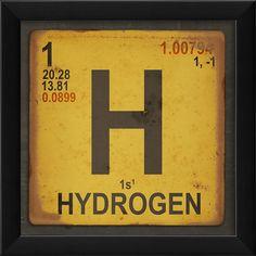 Hydrogen Element Framed Textual Art