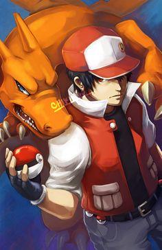 Pokemon - Red and Charizard Pokemon Show, Pokemon Red, Cute Pokemon, Charmander, Charizard, Pokemon Rouge, Pokemon Trainer Red, Pokemon Pictures, Digimon