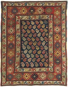 KAZAK, Southeast Caucasian 4ft 5in x 5ft 10in Late 19th Century Natural dyes are used to brilliant effect in this 120 year old Caucasian rug, with vibrant tones of ivory, madder red, saffron, indigo and apple green combining to create a striking work of art. http://www.claremontrug.com/antique-rugs-information/collecting/claremont-rug-companys-new-acquisition-highlights-antique-persian-rugs/antique-rug-caucasian-kazak-4ft-5in-x-5ft-10in-late-19th-century/