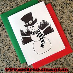 rocker skull and bones snowman holiday christmas dark goth punk alternative emo rockabilly greeting cards, notecards or thank you notes. custom personalized - set of 10 handmade by OnCupcakeMoon